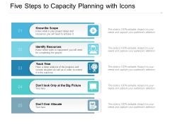 Five Steps To Capacity Planning With Icons Ppt Powerpoint Presentation Model Background Images