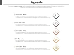 Five Steps To Present Business Agenda Powerpoint Slides