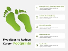 Five Steps To Reduce Carbon Footprints Ppt PowerPoint Presentation Inspiration Ideas