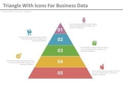 Five Steps Triangle Diagram With Icons Powerpoint Template