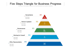 Five Steps Triangle For Business Progress Ppt PowerPoint Presentation Gallery Tips PDF