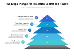Five Steps Triangle For Evaluation Control And Review Ppt PowerPoint Presentation Gallery Example Topics PDF