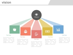Five Steps Vision Planning With Icons Powerpoint Slides