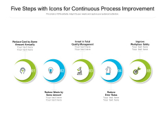 Five Steps With Icons For Continuous Process Improvement Ppt PowerPoint Presentation Model Portfolio
