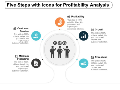 Five Steps With Icons For Profitability Analysis Ppt Powerpoint Presentation Portfolio Backgrounds