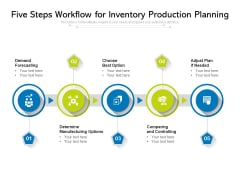 Five Steps Workflow For Inventory Production Planning Ppt PowerPoint Presentation Gallery Styles PDF