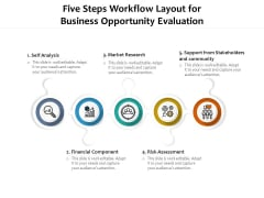 Five Steps Workflow Layout For Business Opportunity Evaluation Ppt PowerPoint Presentation Icon Portfolio PDF
