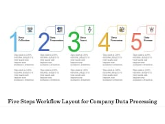 Five Steps Workflow Layout For Company Data Processing Ppt PowerPoint Presentation File Grid PDF