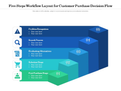 Five Steps Workflow Layout For Customer Purchase Decision Flow Ppt PowerPoint Presentation Gallery Slide PDF