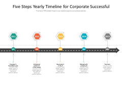 Five Steps Yearly Timeline For Corporate Successful Ppt PowerPoint Presentation Gallery Infographics PDF