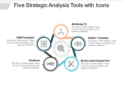 Five Strategic Analysis Tools With Icons Ppt PowerPoint Presentation Model Graphics Design