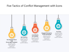 Five Tactics Of Conflict Management With Icons Ppt PowerPoint Presentation Gallery Vector PDF