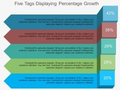 Five Tags Displaying Percentage Growth Powerpoint Template