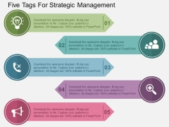 Five Tags For Strategic Management Powerpoint Templates