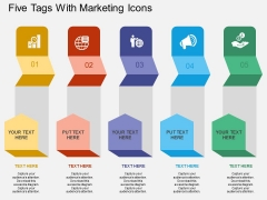 Five Tags With Marketing Icons Powerpoint Template