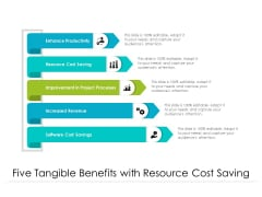 Five Tangible Benefits With Resource Cost Saving Ppt PowerPoint Presentation Infographics Guide PDF