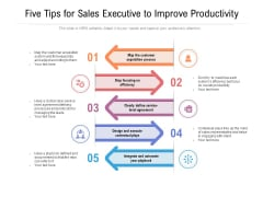 Five Tips For Sales Executive To Improve Productivity Ppt PowerPoint Presentation File Diagrams PDF