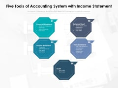 Five Tools Of Accounting System With Income Statement Ppt PowerPoint Presentation Infographic Template Rules PDF