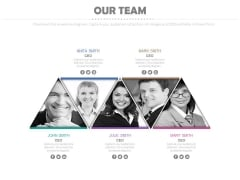 Five Triangles With Team Pictures Powerpoint Slides