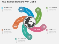 Five Twisted Banners With Globe Powerpoint Template