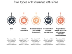 Five Types Of Investment With Icons Ppt PowerPoint Presentation Infographics Clipart Images