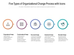 Five Types Of Organizational Change Process With Icons Ppt PowerPoint Presentation Outline Slides
