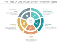 Five Types Of Quality Audit System Ppt PowerPoint Presentation Example 2015