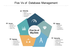 Five Vs Of Database Management Ppt PowerPoint Presentation Infographics Graphics Pictures