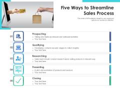 Five Ways To Streamline Sales Process Ppt PowerPoint Presentation Ideas Graphic Tips PDF