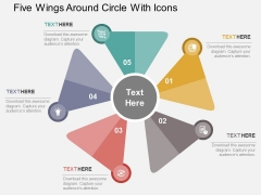 Five Wings Around Circle With Icons Powerpoint Templates