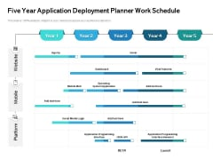 Five Year Application Deployment Planner Work Schedule Icons