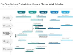 Five Year Business Product Advertisement Planner Work Schedule Template