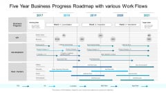 Five Year Business Progress Roadmap With Various Work Flows Inspiration PDF