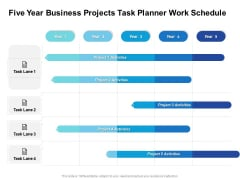 Five Year Business Projects Task Planner Work Schedule Designs
