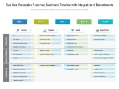 Five Year Enterprise Roadmap Swimlane Timeline With Integration Of Departments Formats