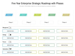 Five Year Enterprise Strategic Roadmap With Phases Slides