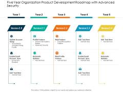 Five Year Organization Product Development Roadmap With Advanced Security Sample