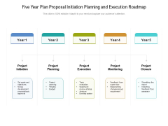 Five Year Plan Proposal Initiation Planning And Execution Roadmap Graphics