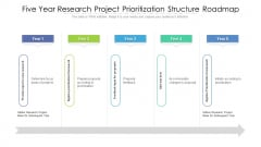 Five Year Research Project Prioritization Structure Roadmap Structure