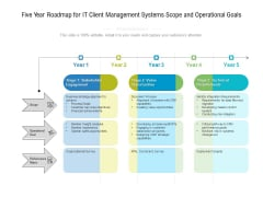 Five Year Roadmap For IT Client Management Systems Scope And Operational Goals Brochure
