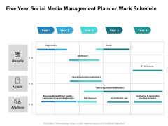Five Year Social Media Management Planner Work Schedule Mockup