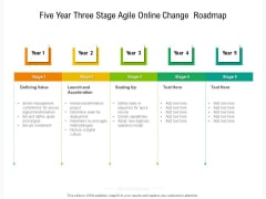 Five Year Three Stage Agile Online Change Roadmap Icons