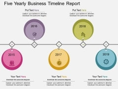 Five Yearly Business Timeline Report Powerpoint Template