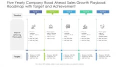 Five Yearly Company Road Ahead Sales Growth Playbook Roadmap With Target And Achievement Designs
