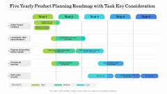 Five Yearly Product Planning Roadmap With Task Key Consideration Structure