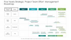 Five Yearly Strategic Project Team Effort Management Roadmap Brochure