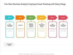 Five Years Business Analytics Employee Career Roadmap With Salary Range Designs