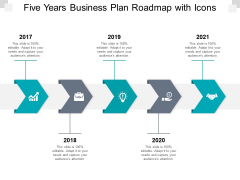 Five Years Business Plan Roadmap With Icons Ppt PowerPoint Presentation Icon Shapes
