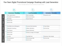 Five Years Digital Promotional Campaign Roadmap With Lead Generation Mockup