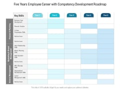 Five Years Employee Career With Competency Development Roadmap Pictures